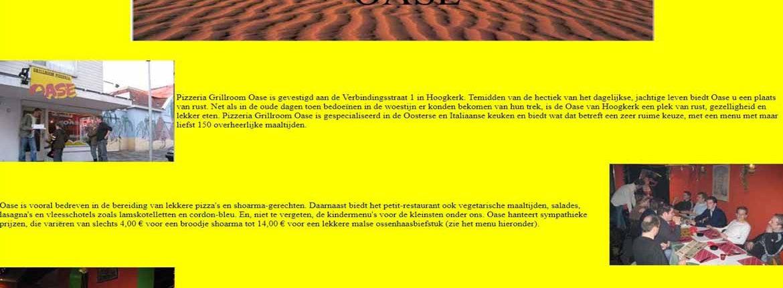 Afbeelding van de website van pizzeria Oase te Hoogkerk